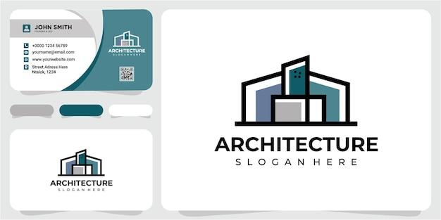 Modern line-architectuurlogo-ontwerpinspiratie met sjabloon voor visitekaartjes