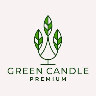 Modern line art candle leaf logo vector