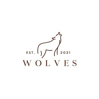 Modern lineart wolven logo ontwerpconcept