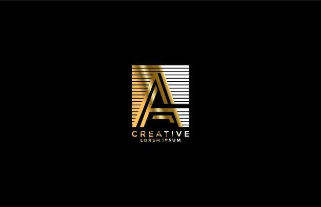 Modern logo letter a lineaire streep vierkant goud