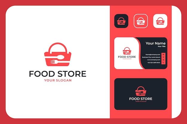 Modern logo-ontwerp en visitekaartje voor voedselwinkels