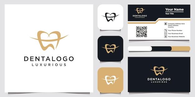 Modern logo van een tandkliniek en een visitekaartjeontwerp