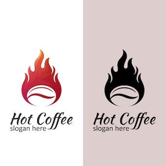 Modern logo voor warme koffie, ontwerp van gebrande koffie met vintage stijl
