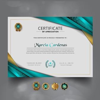 Modern luxe certificaat van prestatieontwerp