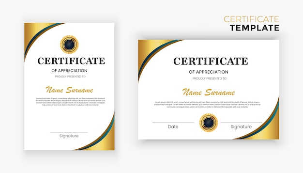 Modern luxe gouden diploma certificaatsjabloonontwerp