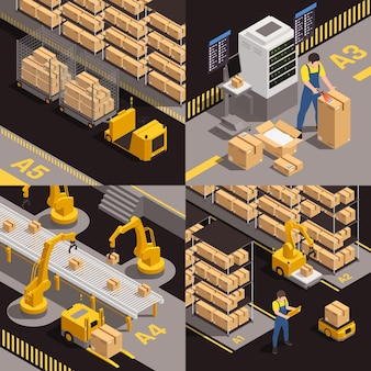 Modern magazijnconcept 4 isometrische illustratie