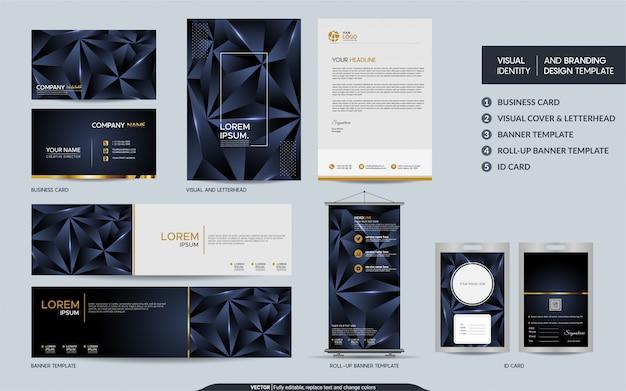 Modern marineblauw veelhoekig briefpapier mock-up set en visuele merkidentiteit met abstracte overlappende lagen