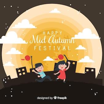 Modern medio herfst festival achtergrondontwerp