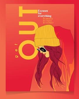 Modern meisje met typografie poster sjabloon.