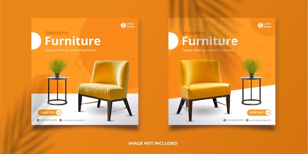 Modern meubelontwerp social media postsjablonen premium eps
