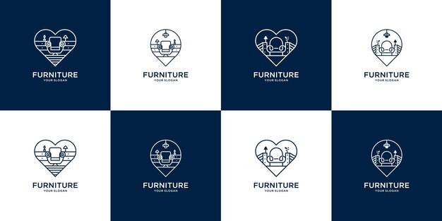 Modern meubilair logo sjabloon met pictogram pin kaart en hart