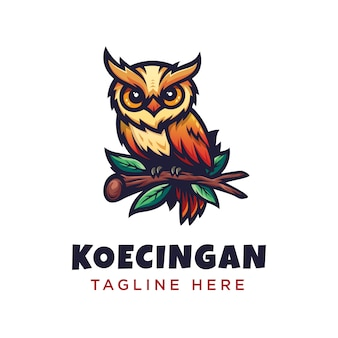 Modern minimalisme kleurrijk uil gedetailleerd logo