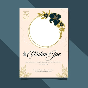Modern minimalistisch de kaartsjabloonontwerp van de huwelijksuitnodiging