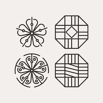 Modern minimalistisch koreaans traditioneel patroonontwerp