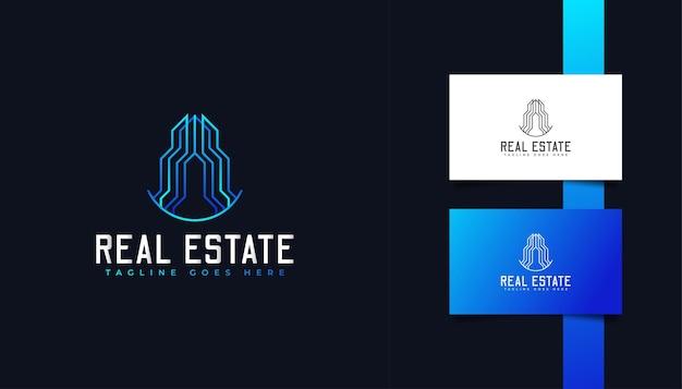 Modern minimalistisch onroerend goed-logo in blauw verloop. ontwerpsjabloon voor bouw, architectuur of gebouw logo