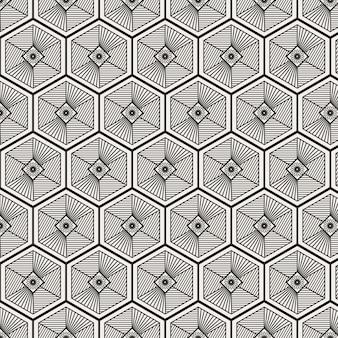 Modern minimalistisch traditioneel koreaans patroonontwerp met zeshoekige vorm