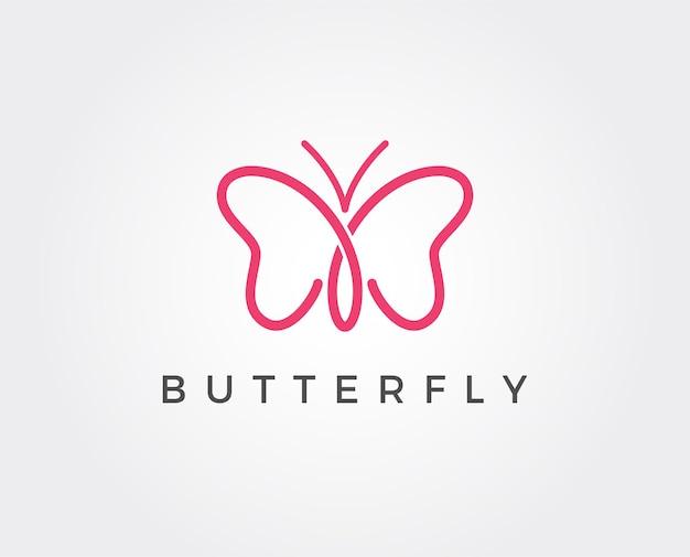 Modern minimalistisch vlinderlogo voor cosmetisch symbool en aanverwante zaken