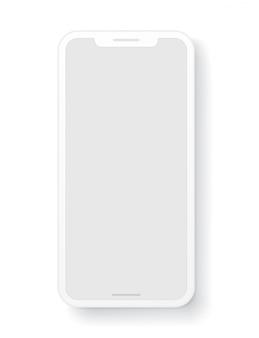 Modern mobiel telefoon gelaagd malplaatje dat op wit wordt geïsoleerd