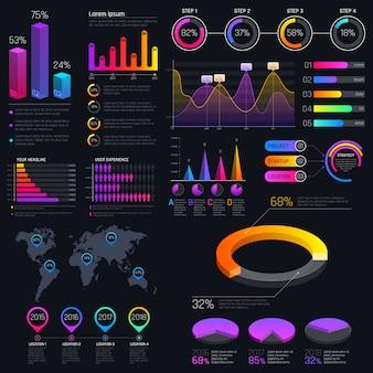 Modern modern infographic malplaatje met statistiekengrafieken en financiële grafieken. diagrammalplaatje en grafiekgrafiek, grafische informatievisualisatie