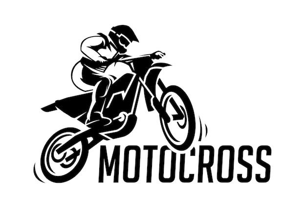 Modern motocrosslogo in zwart witte stijl
