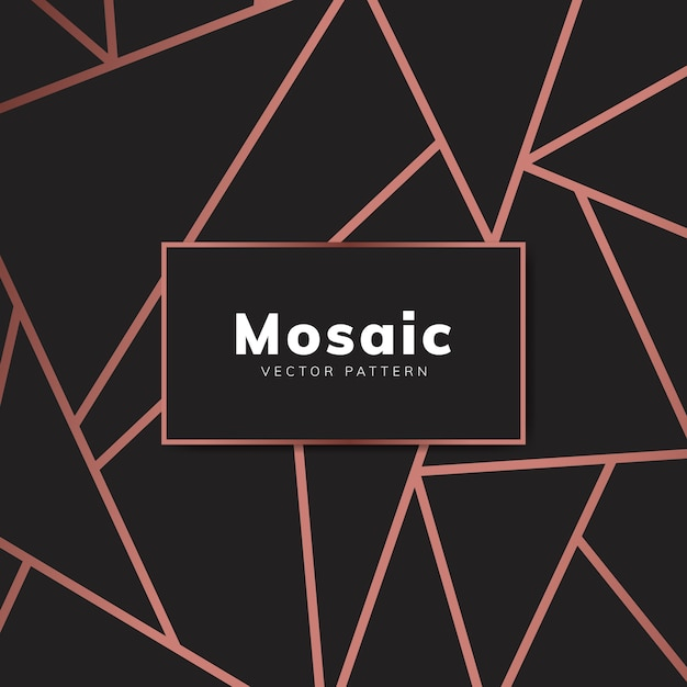 Modern mozaïekbehang in roze goud en zwart