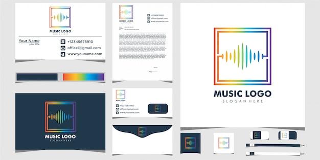Modern muziek equalizer logo-ontwerp en visitekaartje