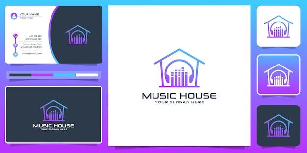 Modern muziekhuis logo ontwerp en visitekaartje. kleurverloop, inspiratie, studiomuziek, element.