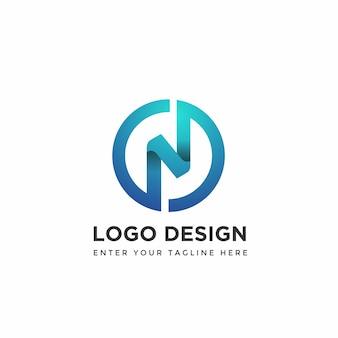 Modern n met cirkel logo ontwerpsjablonen