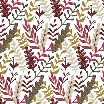 Modern naadloos patroon met hand getrokken bladeren.