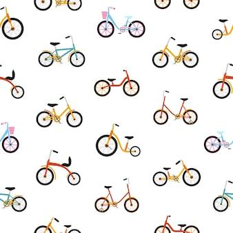 Modern naadloos patroon met kinderfietsen van verschillende typen.