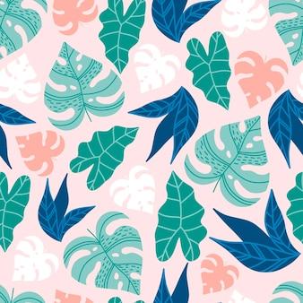 Modern naadloos patroon met tropische bladeren