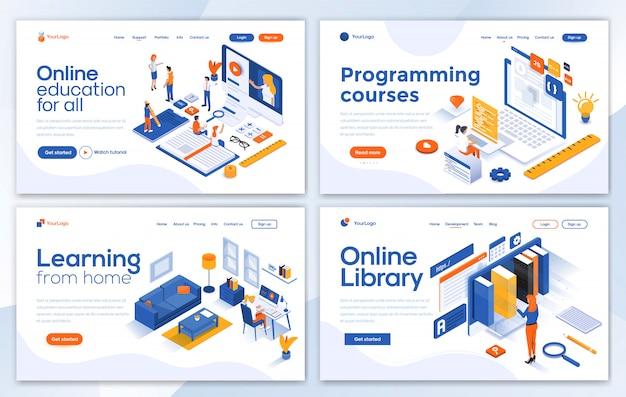 Modern of landing page template - education set