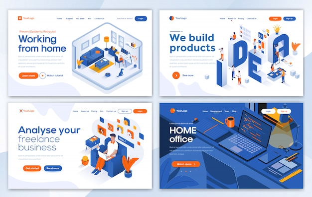 Modern of landing page template - working from home set