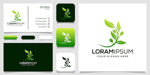 Modern olijf logo sjabloon visitekaartje