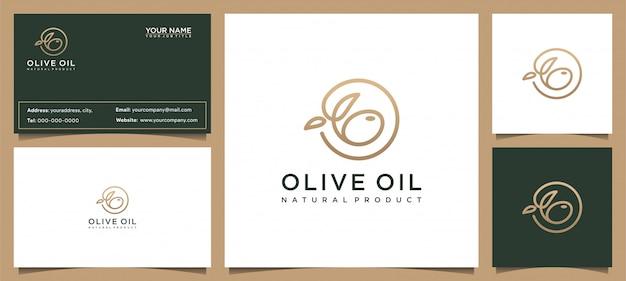 Modern olijfolie logo-ontwerp en visitekaartje