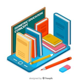 Modern onderwijsconcept met isometrische mening
