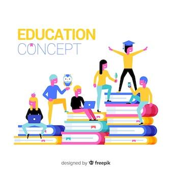 Modern onderwijsconcept met vlak ontwerp