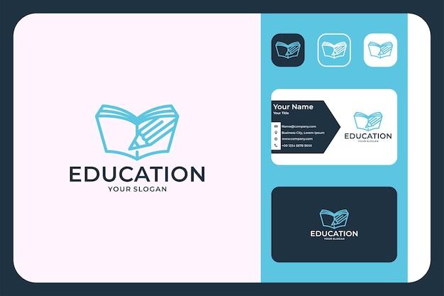 Modern onderwijslogo, boek met potloodlogo-ontwerp en visitekaartje