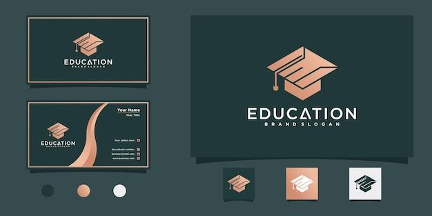 Modern onderwijslogo met gecombineerd concept van letter e en toga-hoed premium vekto