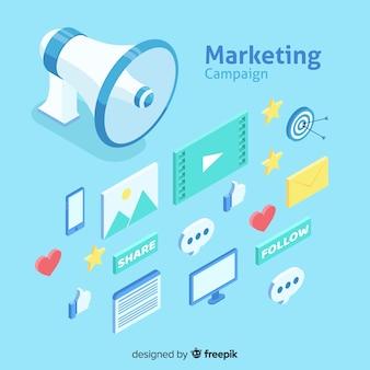 Modern online marketing concept met isometrische weergave