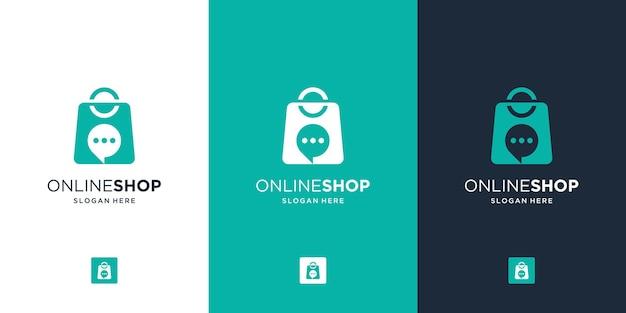 Modern online winkellogo met creatief combineertas- en bubbelchatsymbool