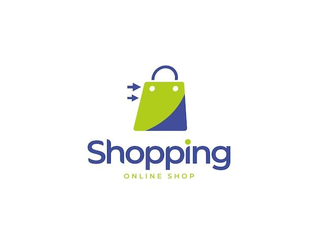 Modern online winkellogo met illustratie van een boodschappentas