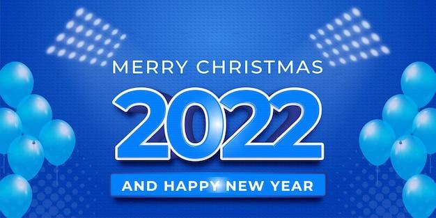 Modern ontwerp 2022 bewerkbaar gelukkig nieuwjaar op een blauwe kleurenachtergrond