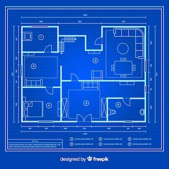 Modern ontwerp blauwdruk van een huis