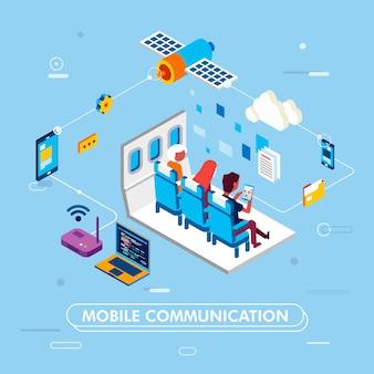 Modern ontwerp van mobiele communicatie met internet netwerken, mensen zitten op vliegtuigstoel en browsen met tablet