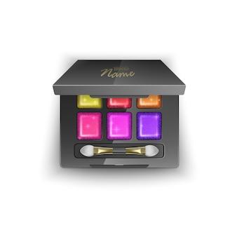 Modern oogschaduwpalet met heldere en kleurrijke kleuren. in 3d illustratie, bovenaanzicht van cosmetisch product