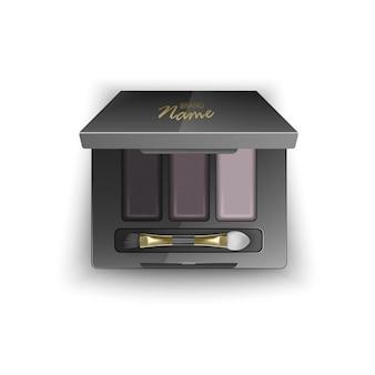 Modern oogschaduwpalet voor smokey eyes. in 3d illustratie, bovenaanzicht van cosmetisch product