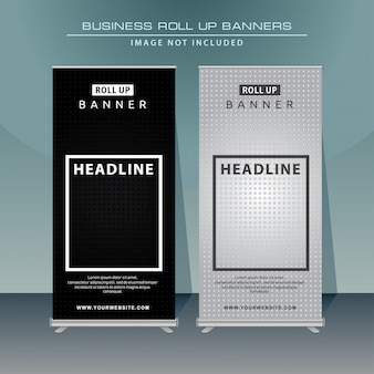 Modern oprolbare bannerontwerp met zwarte kleur