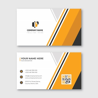 Modern oranje en zwart visitekaartje