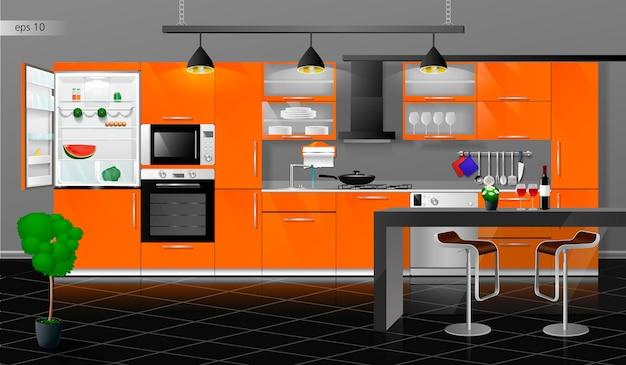 Modern oranje keukeninterieur vectorillustratie huishoudelijke keukenapparatuur